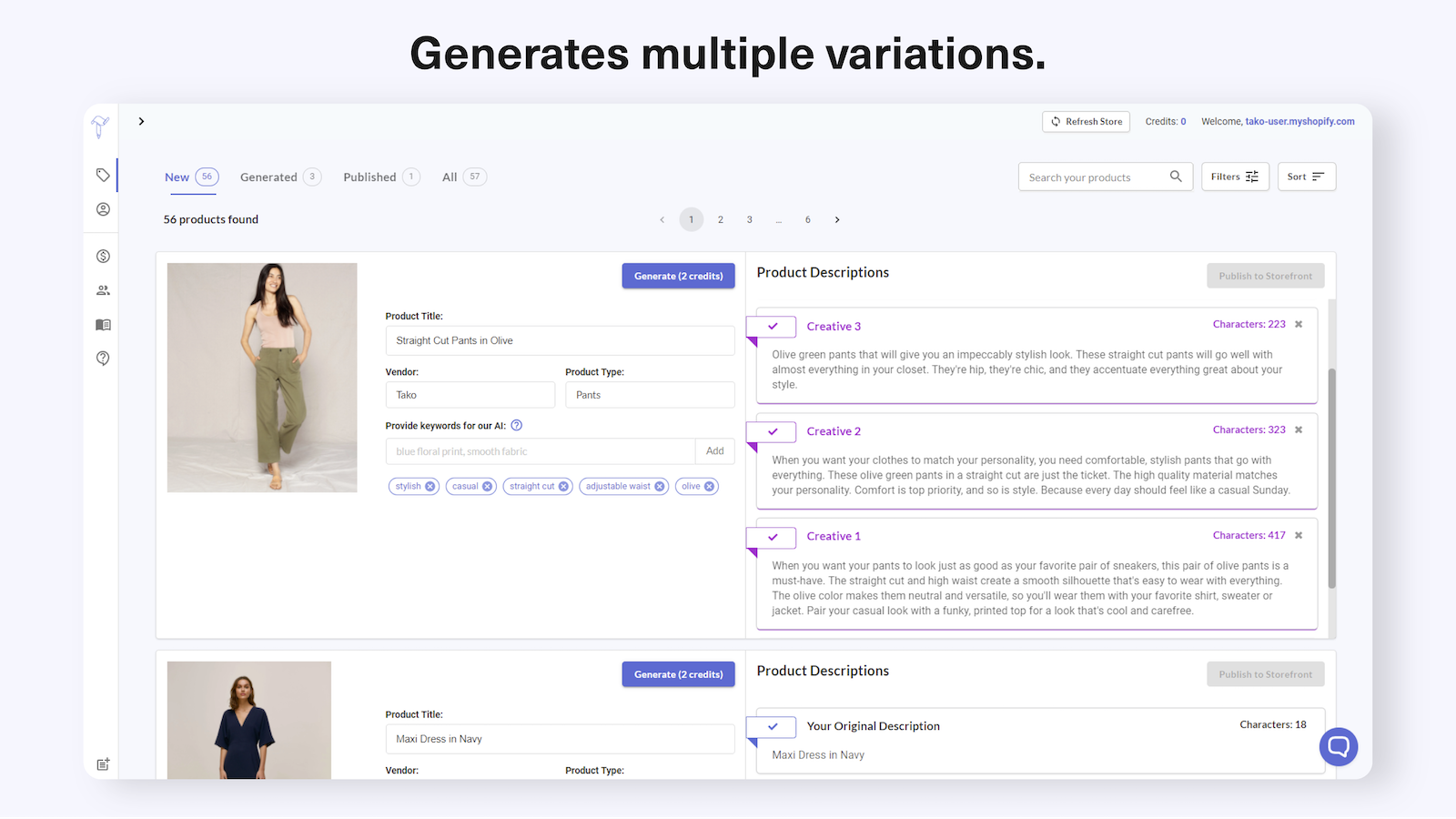 Generate a few different description variants for each product