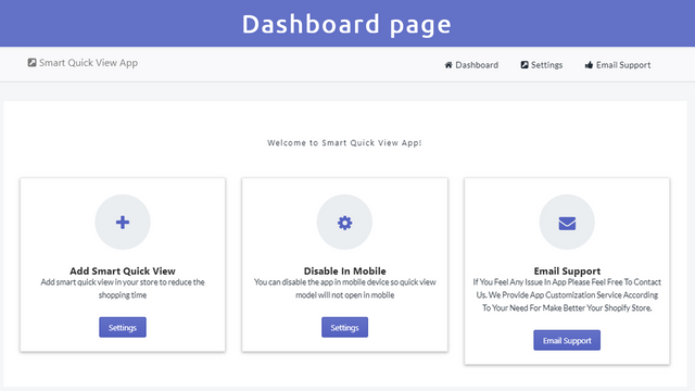 dashboards page on smart quick view