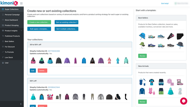 Collections page