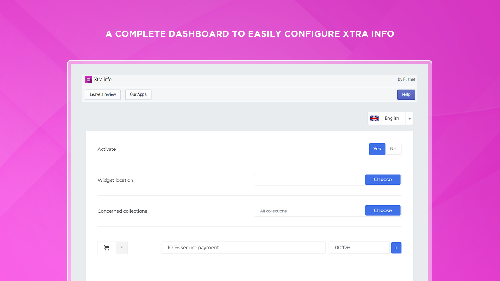 A complete dashboard to easily configure Xtra info
