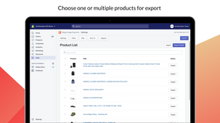 Mega Image Exporter – table of products available for export
