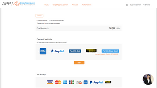 Payment method available with PayPal and Credit Card