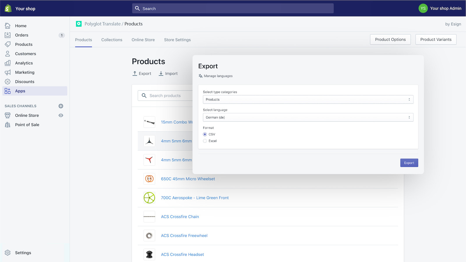 Export page