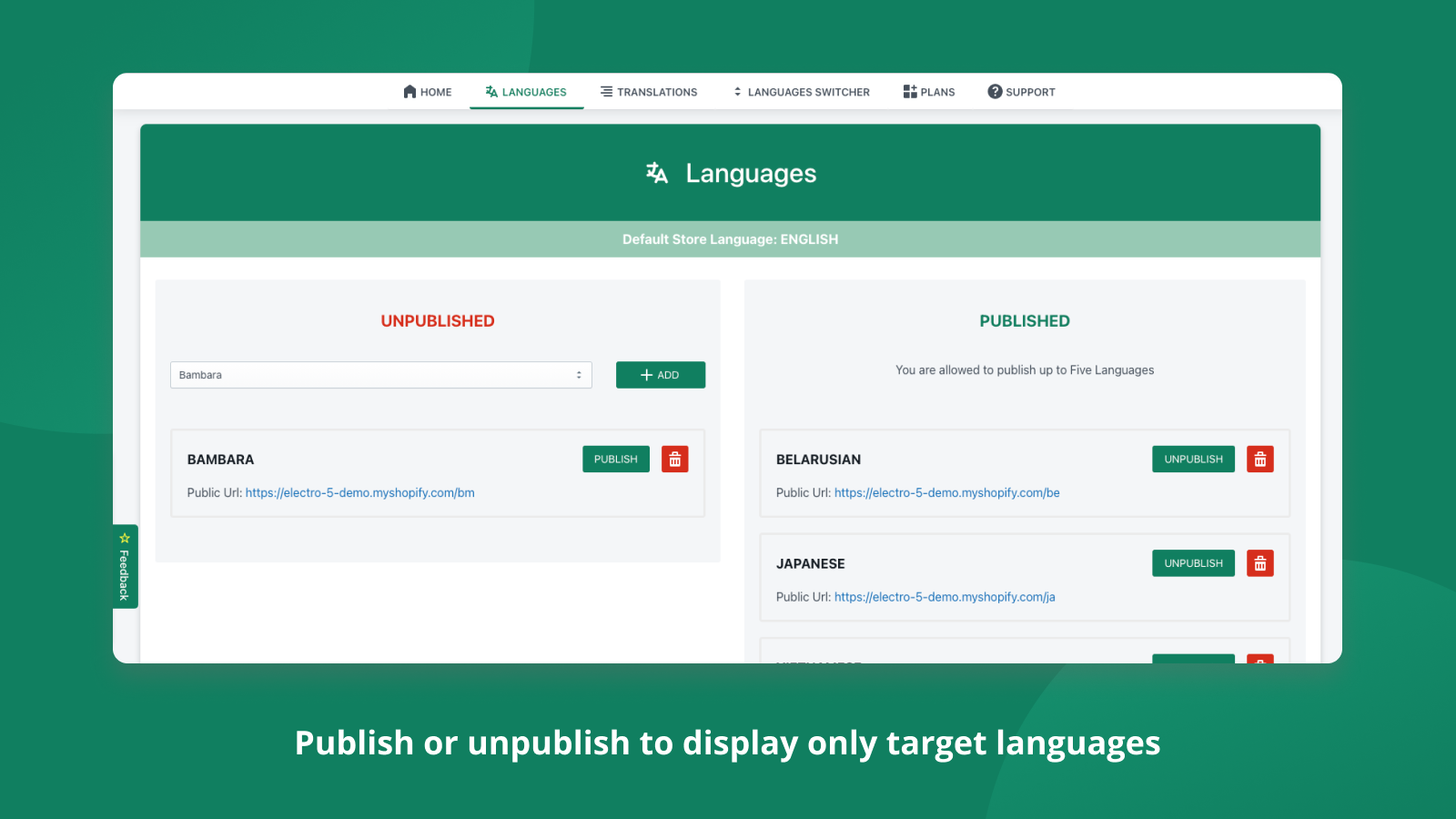 Publish or unpublish to display only target languages