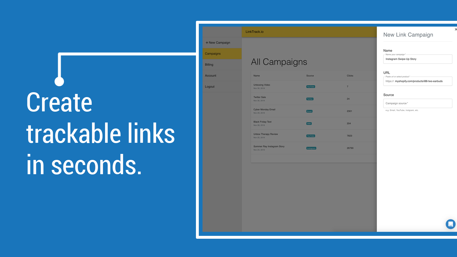 Create trackable links for Shopify
