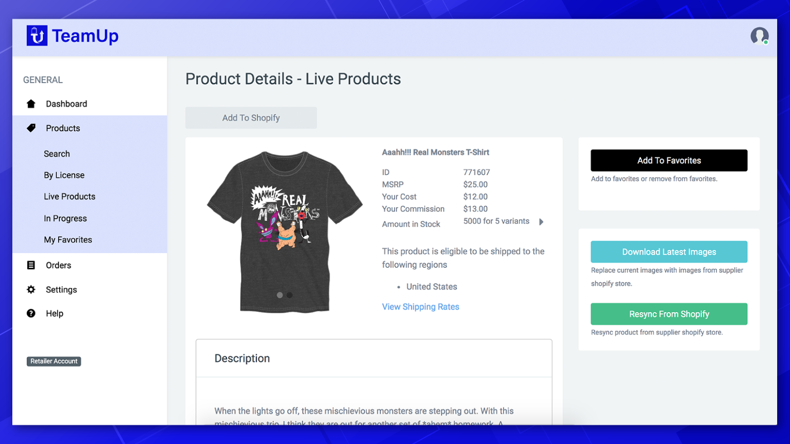 Product details page contains all the most important item info.