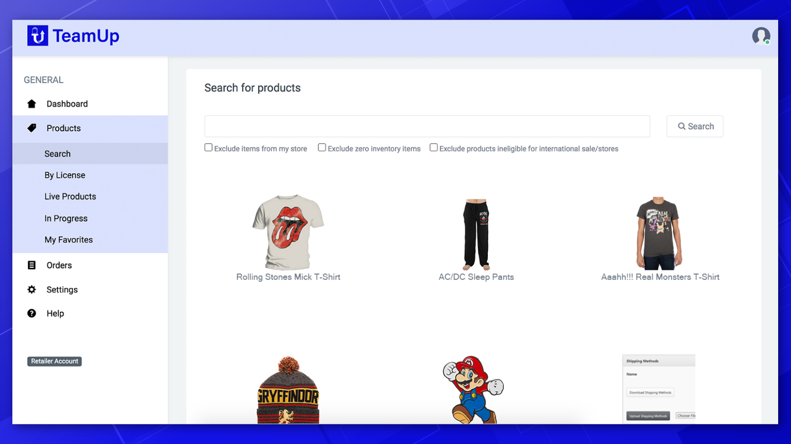 Search through thousands of products to stock your store.