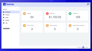 TeamUp's retailer dashboard allows you to quickly monitor KPIs.