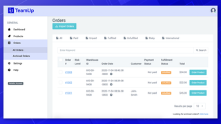 The orders page allows you to efficiently manage your orders.