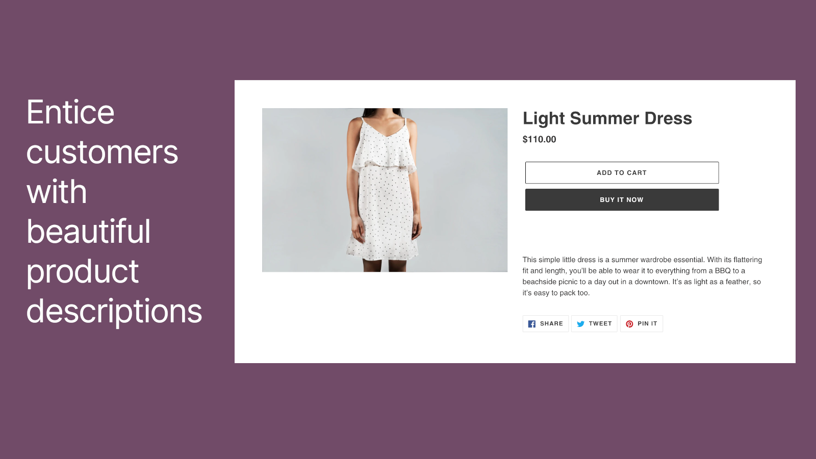 Entice customers with beautiful product descriptions