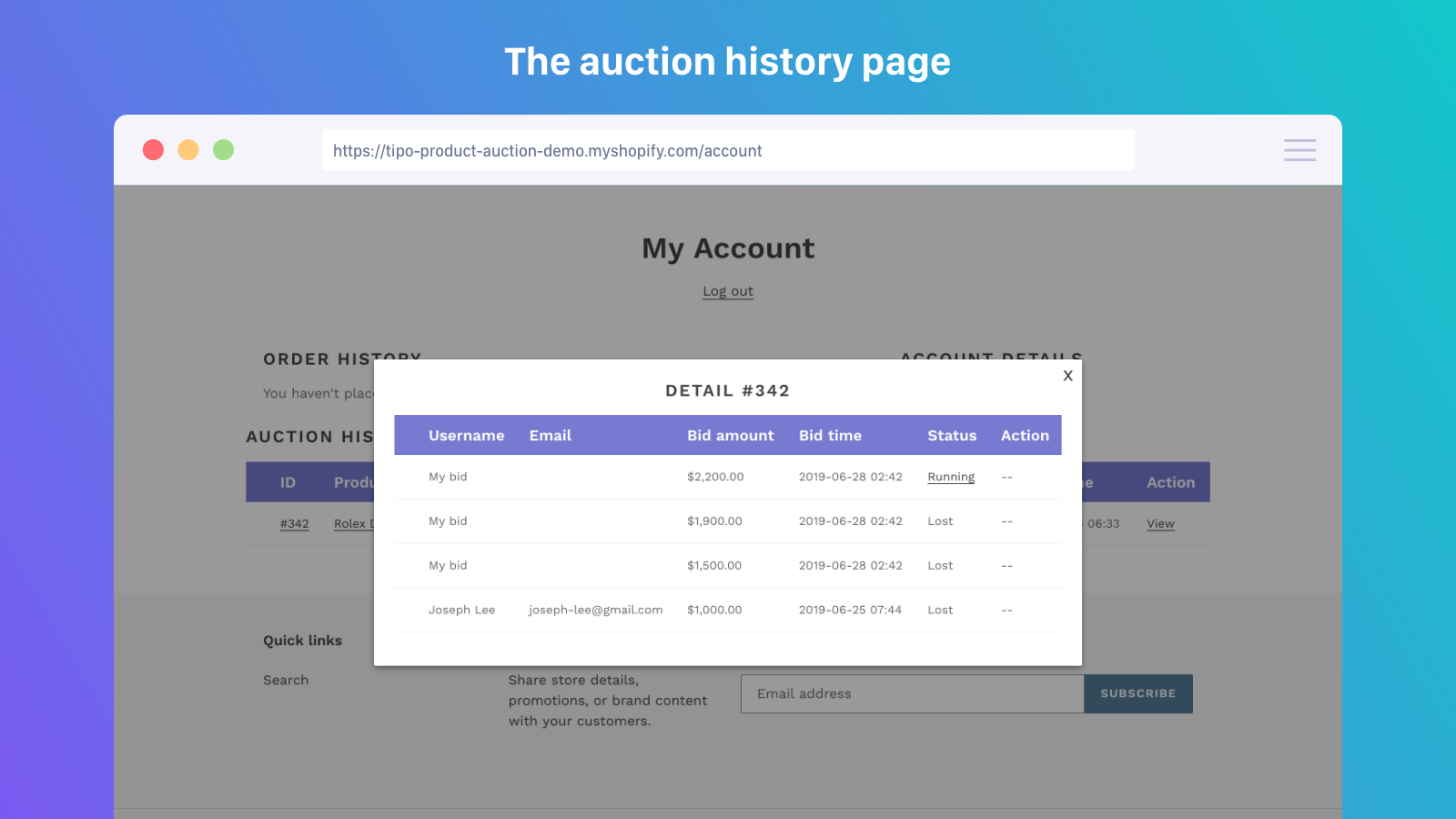 My account with Product Auction history