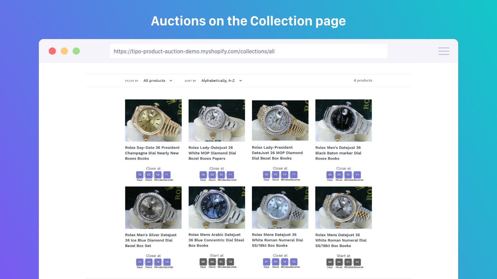 Manage product auction