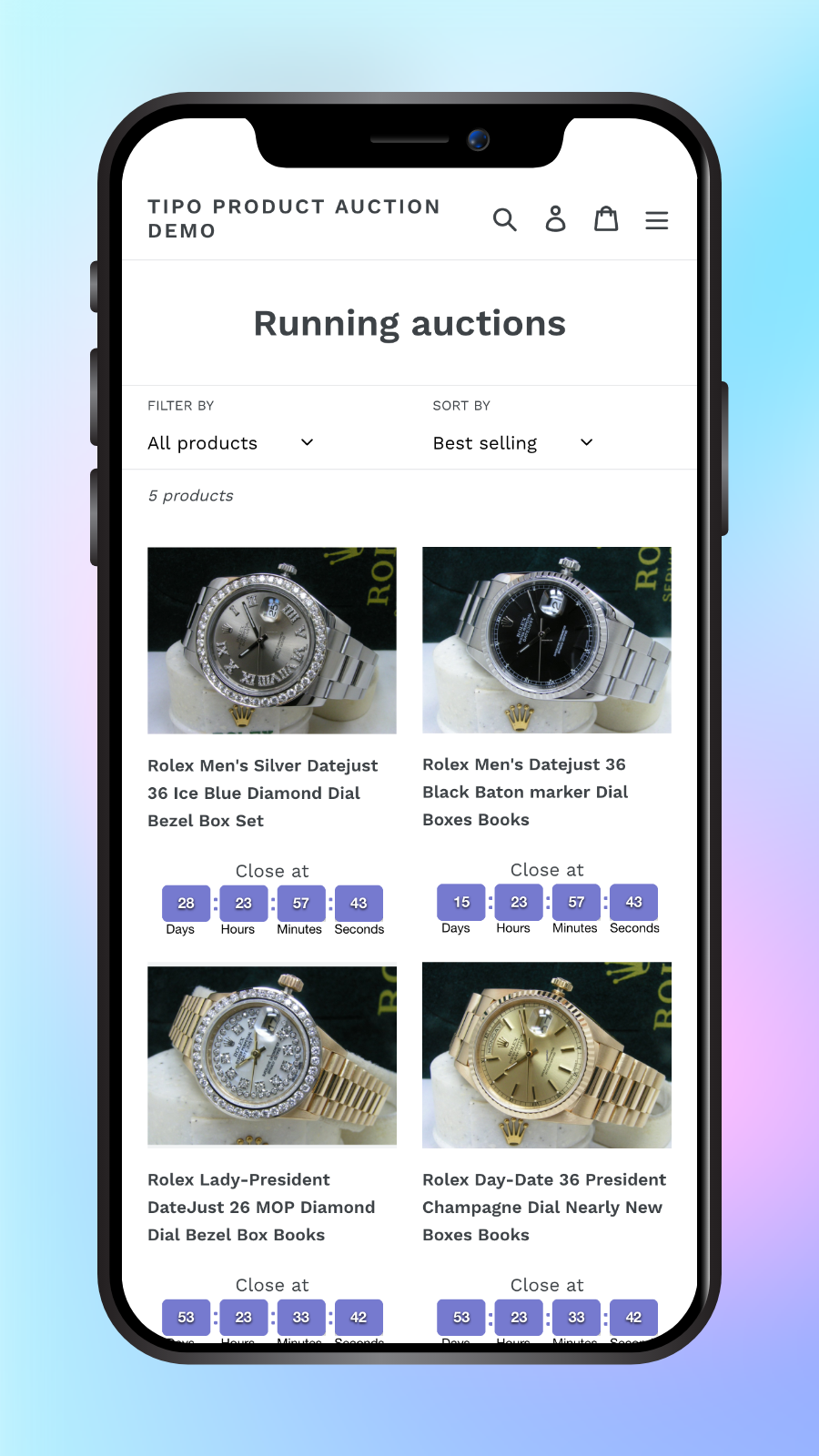 Bid on collection page on mobile