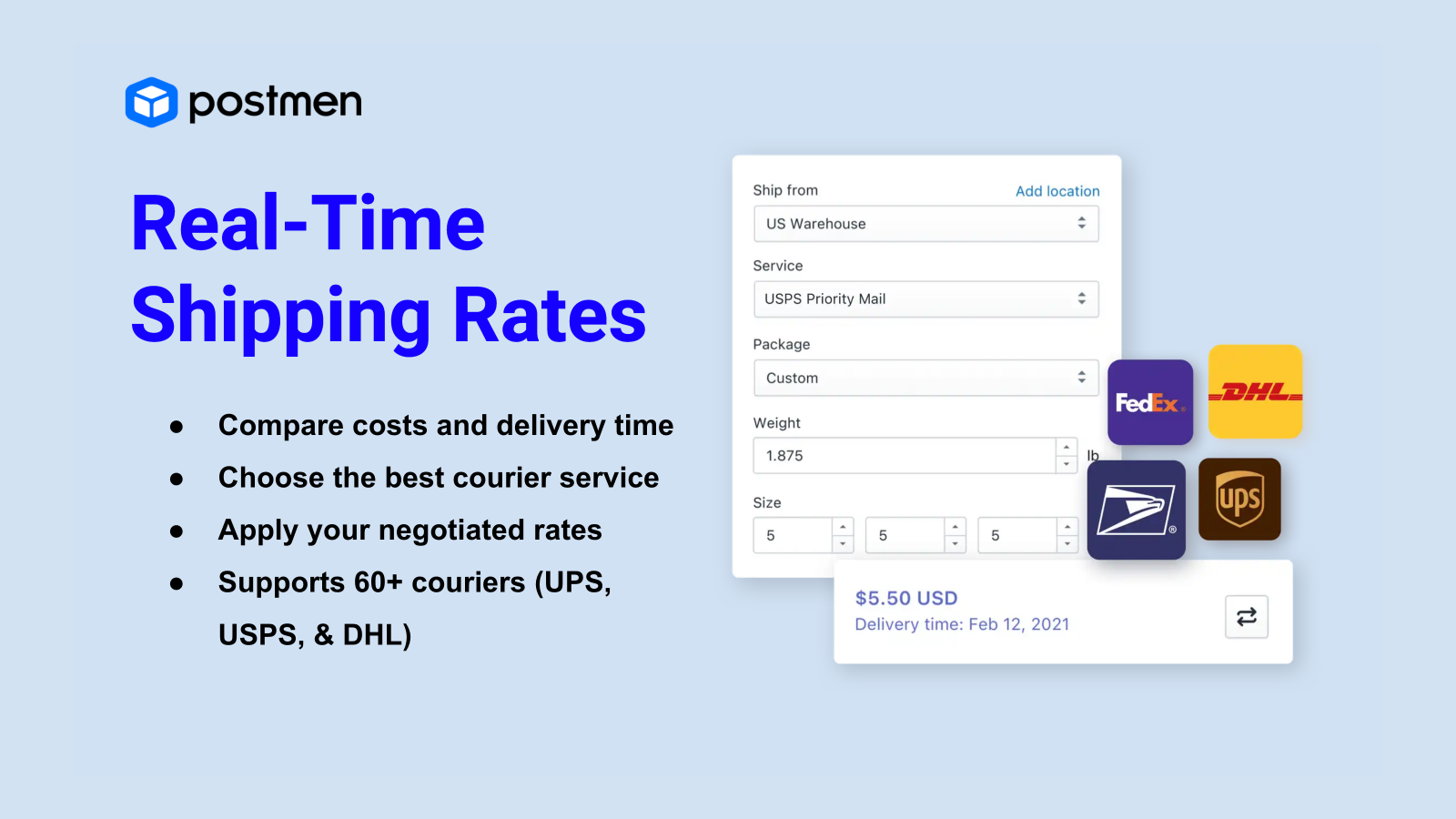 Real time shipping rates