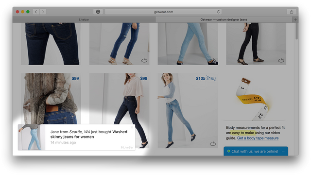 LiveBar notification at Jeans Store