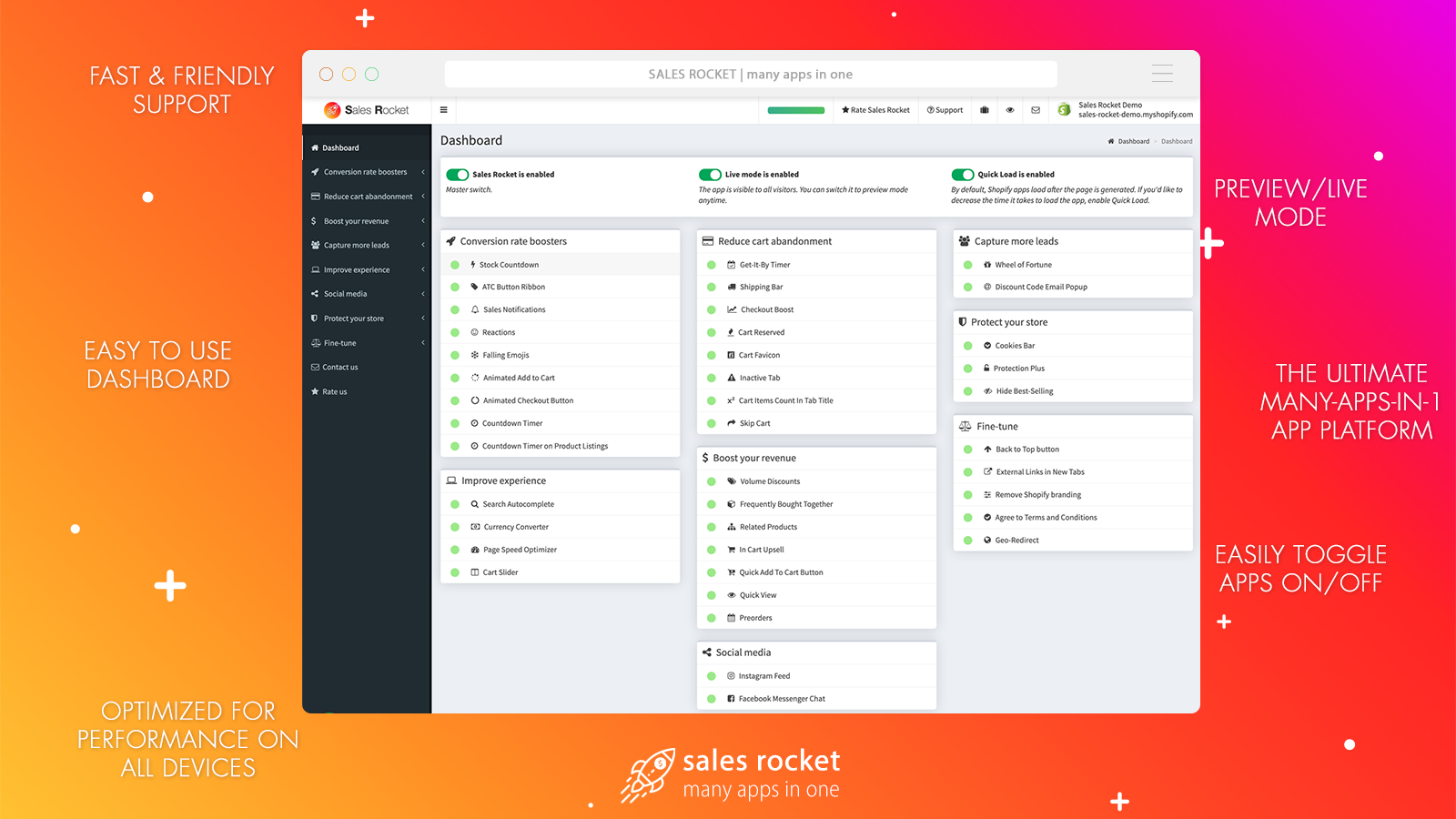 SALES ROCKET - the ultimate many-apps-in-one app