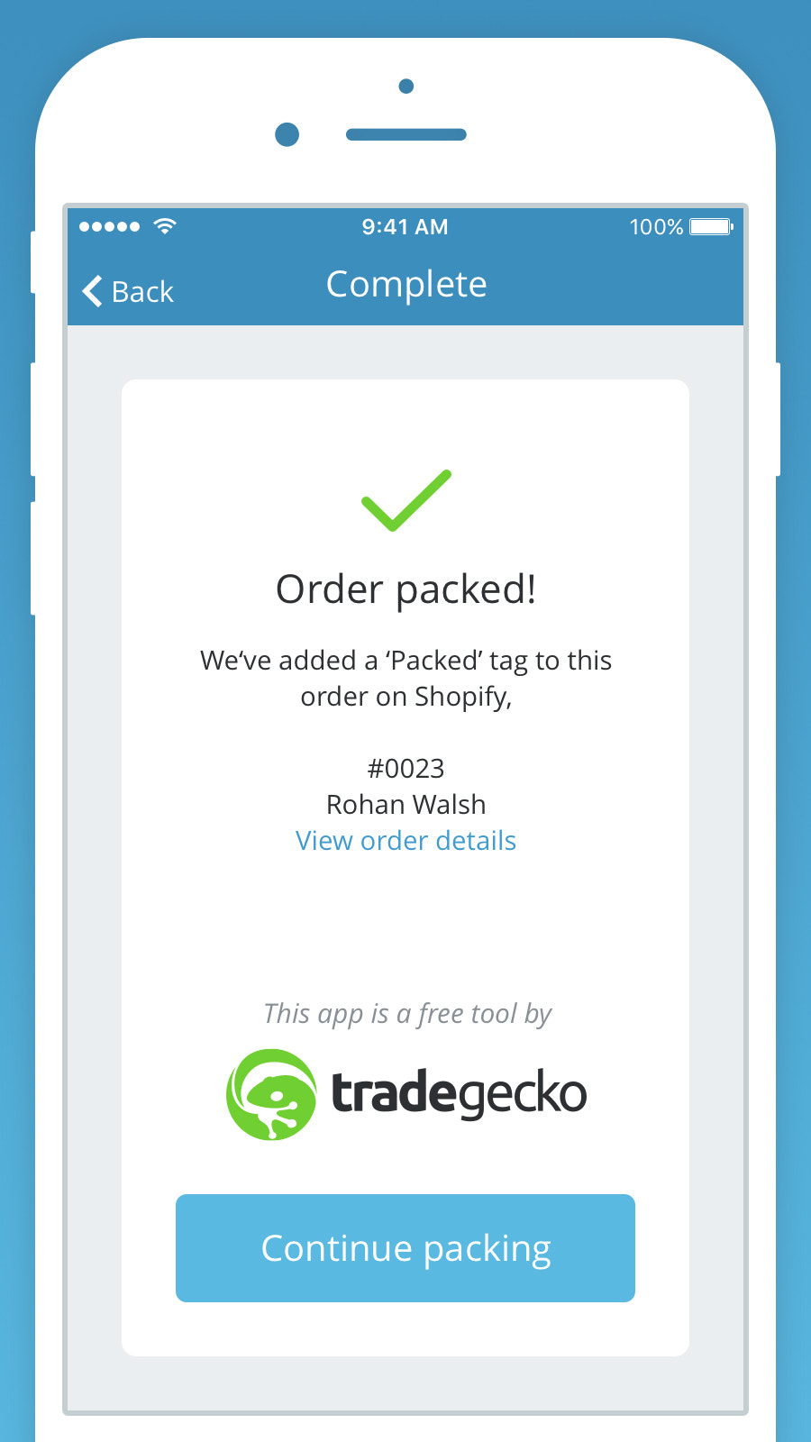 Automatically mark packed orders on Shopify