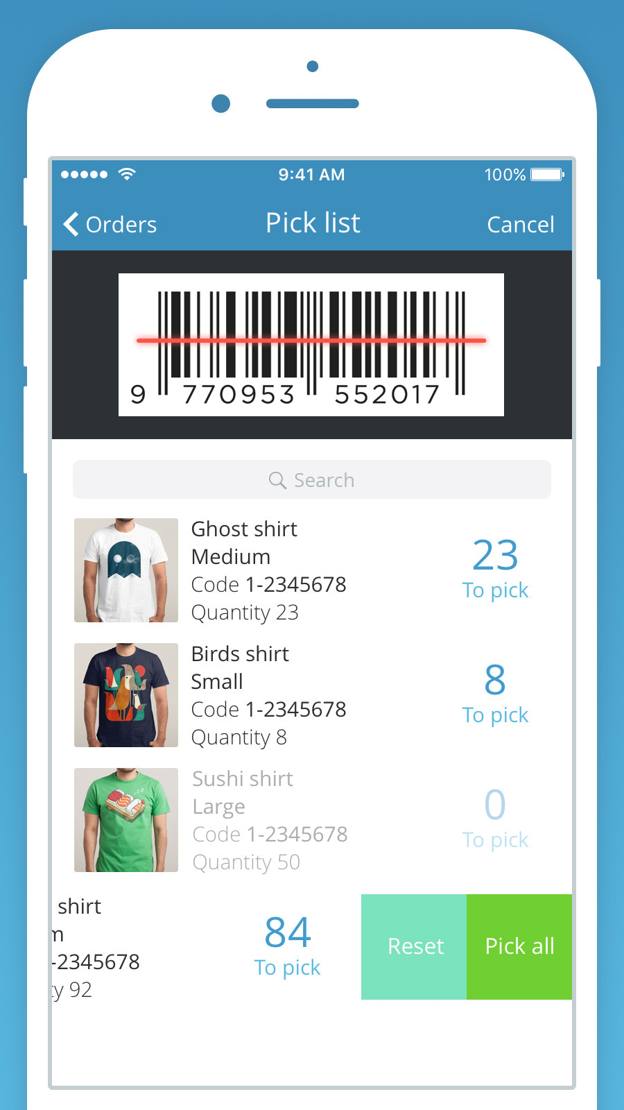 Scan and pack orders