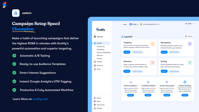 Launch new Facebook & Instagram ads easily with Scalify.