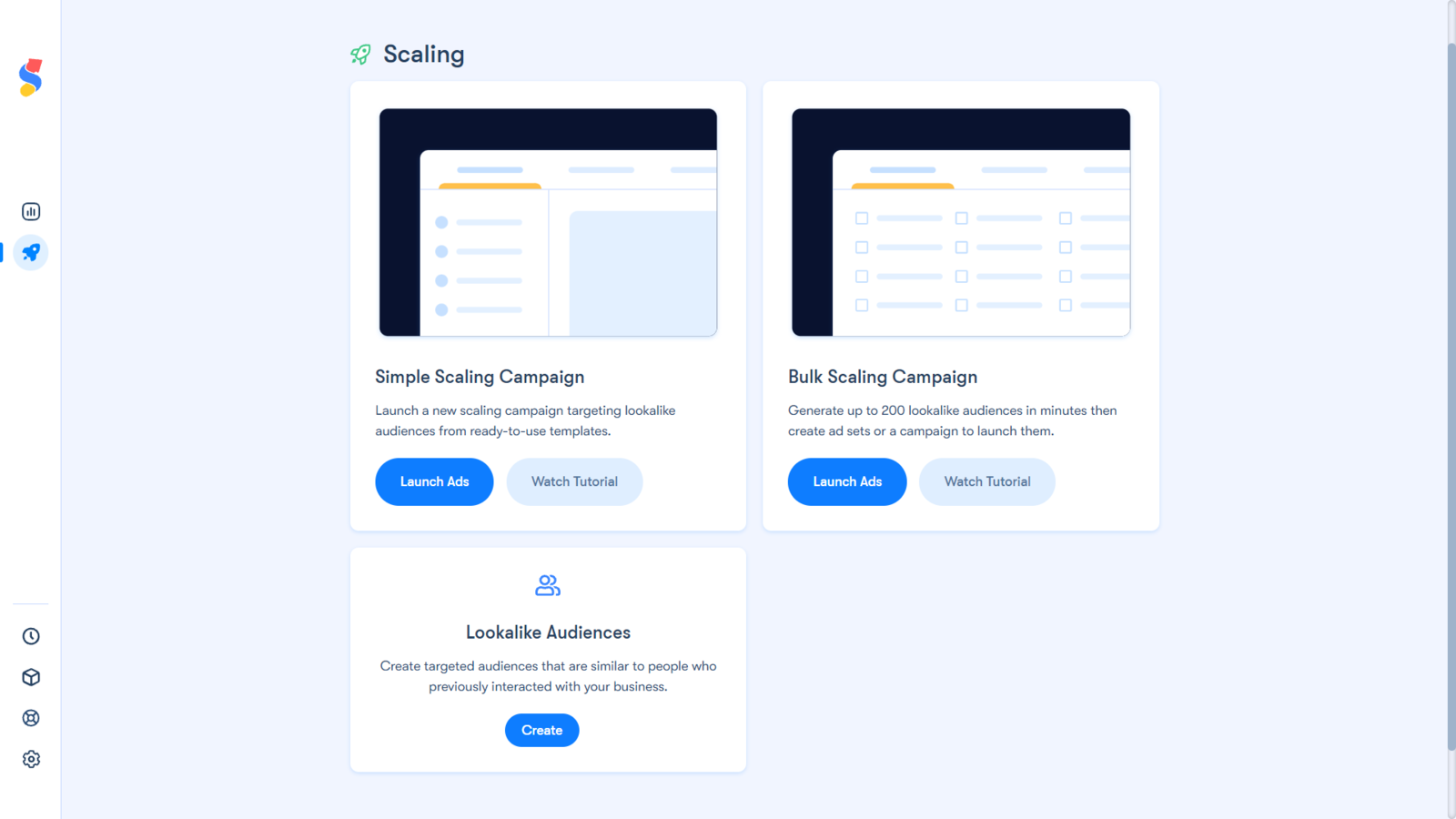 The three main features of the Facebook Ads Scaling Shopify app.