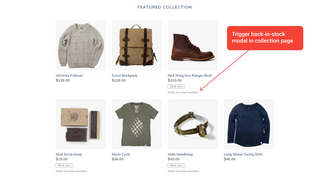 Trigger back-in-stock modal in collection page