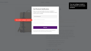 Back-In-Stock Modal Popup