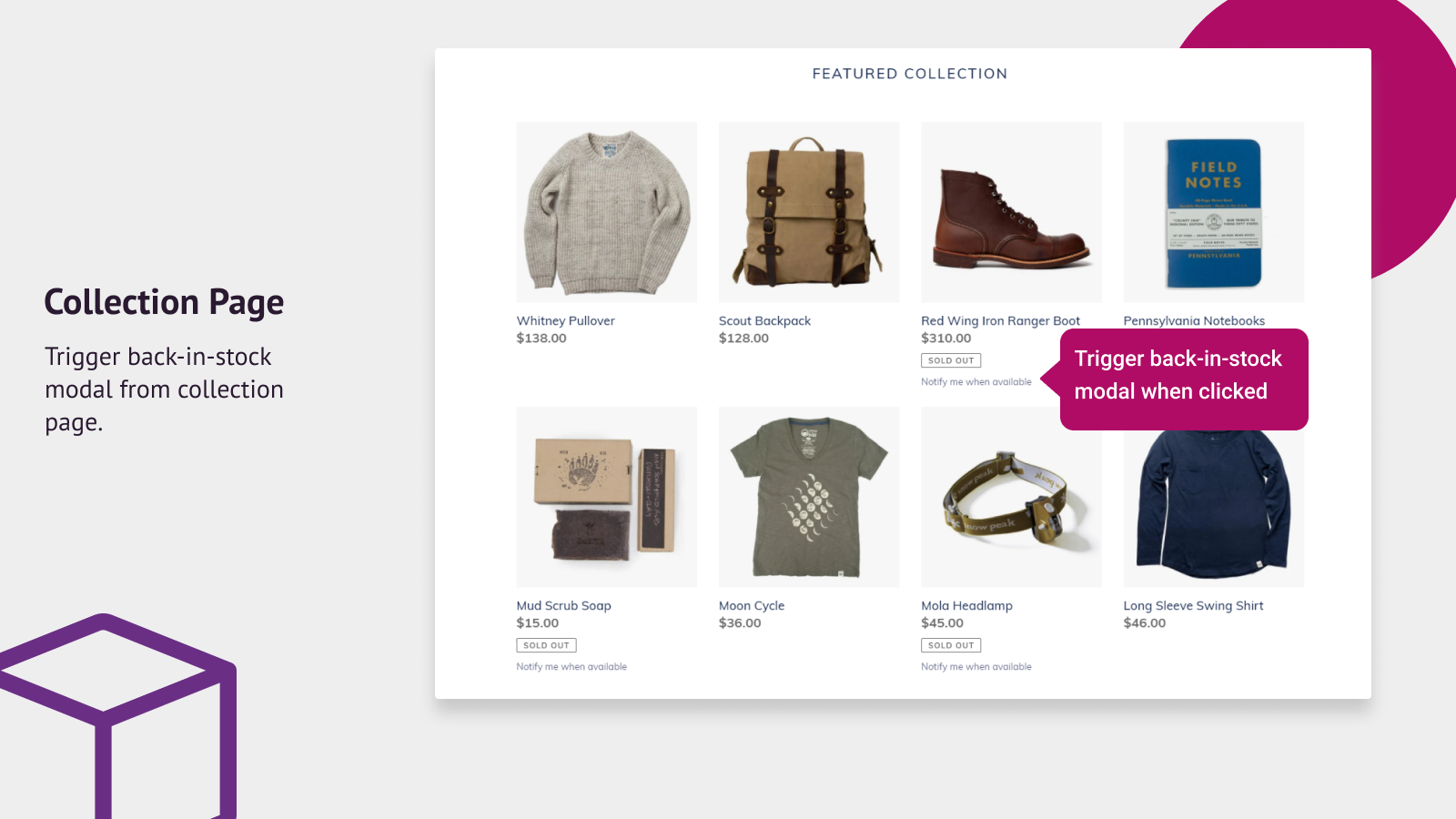 Trigger back-in-stock modal from collection page