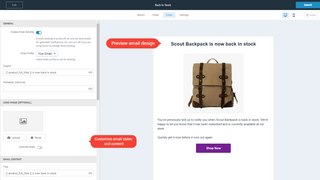 Customize back-in-stock email
