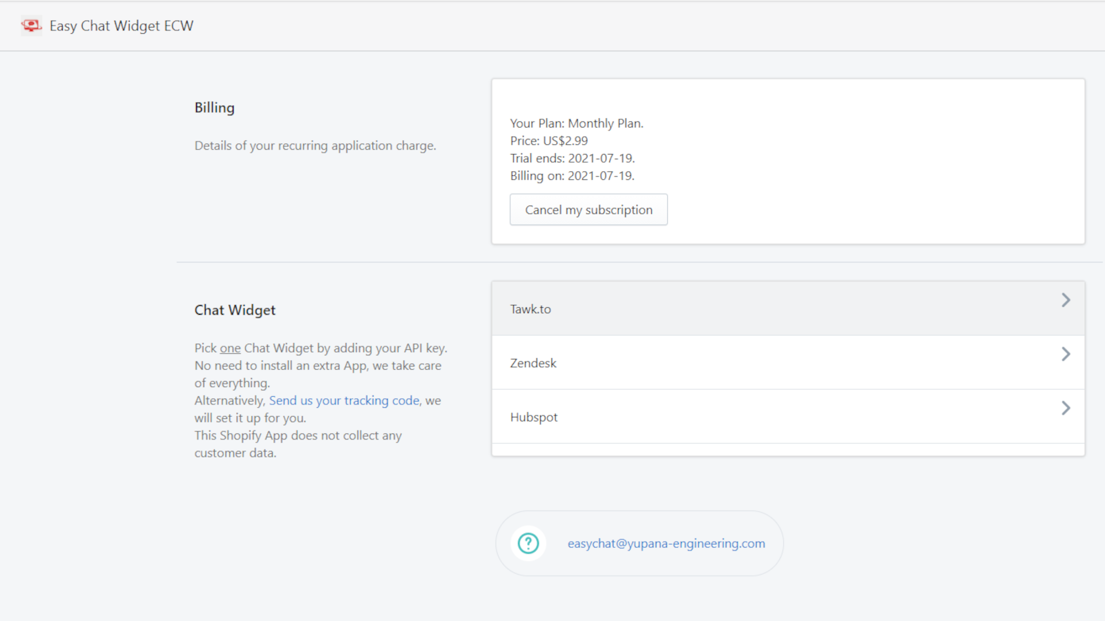 Easy Chat Widget Install for Shopify, with Tawk.to, Hubspot, Zen