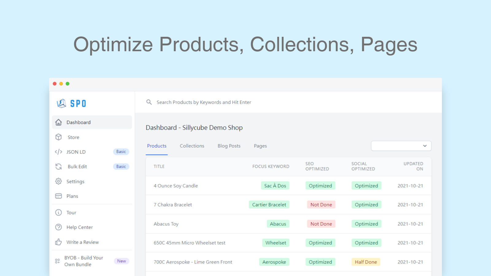 Optimize SEO for Products, Collections, Pages