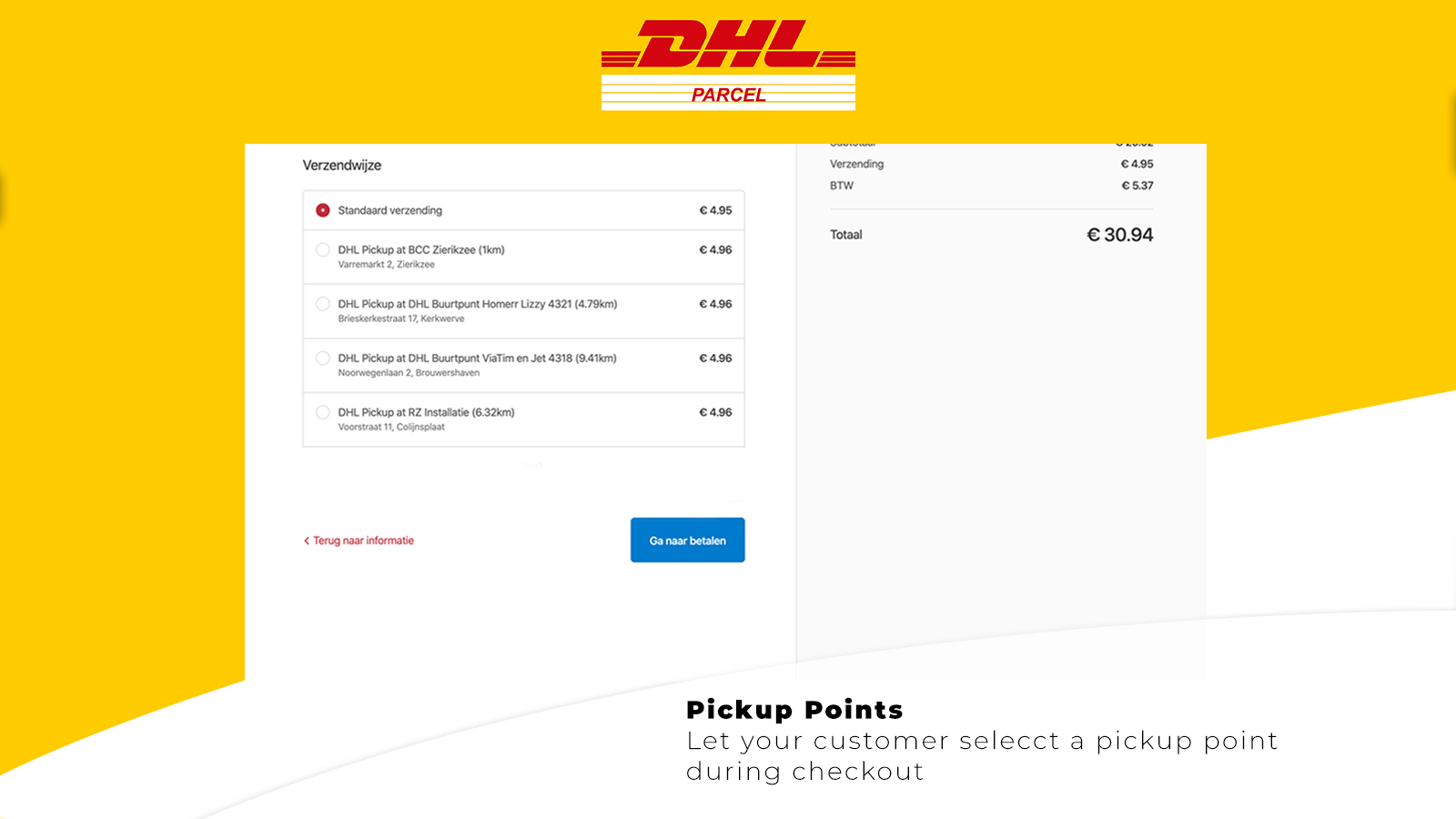 Display pickup points during checkout