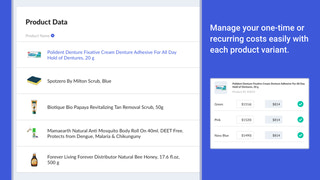 Manage your recurring costs easily with each product variant.