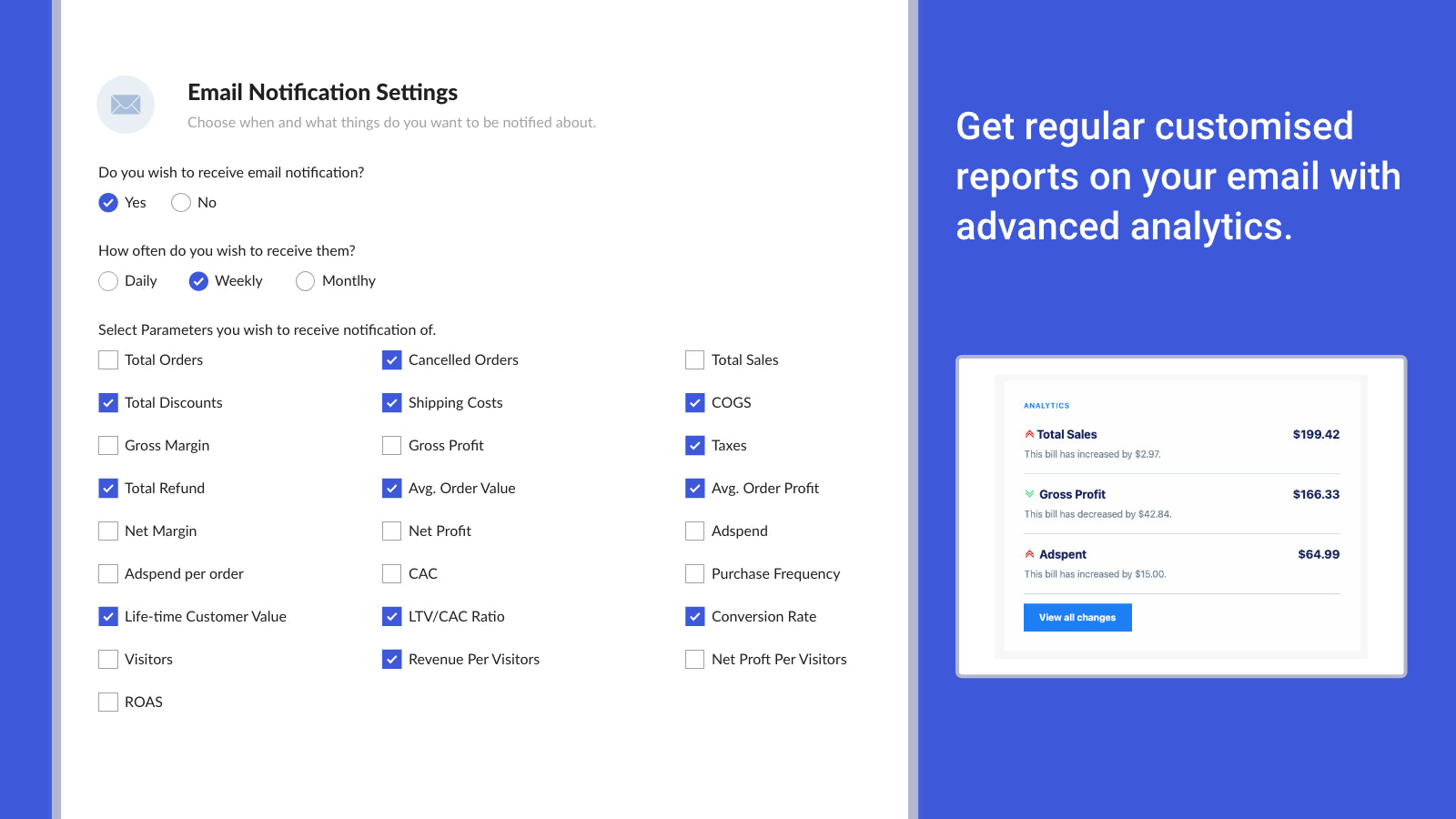 Regular customised reports on your email with advanced analytics