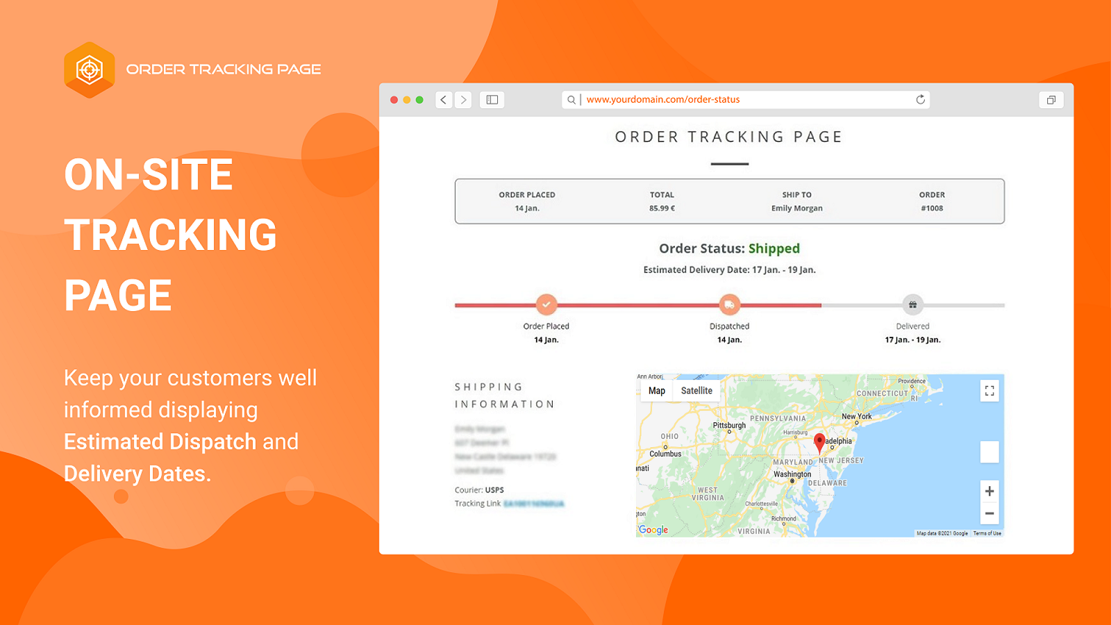 On Site Order Tracking Page