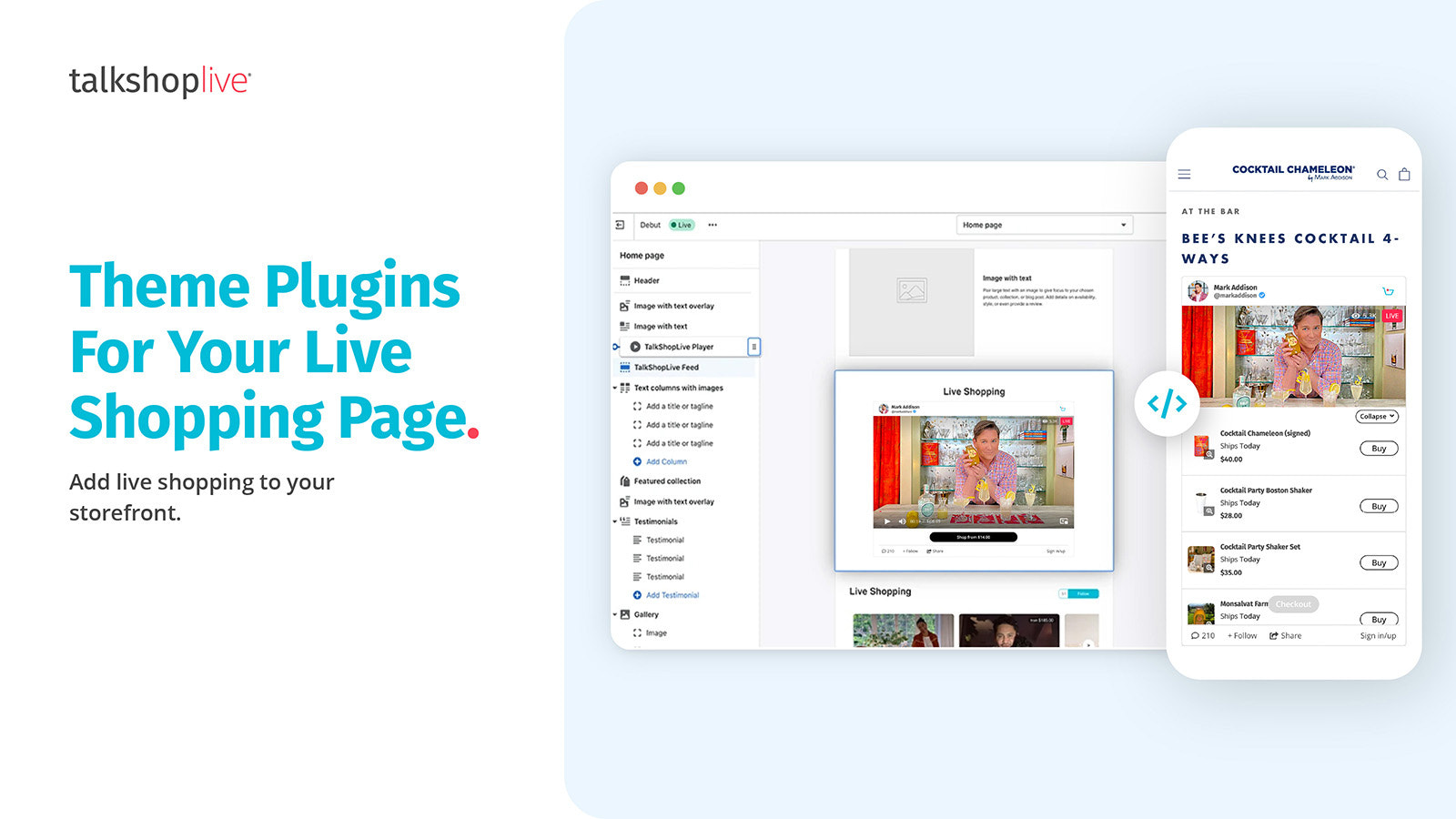 Live shopping page with theme plugin