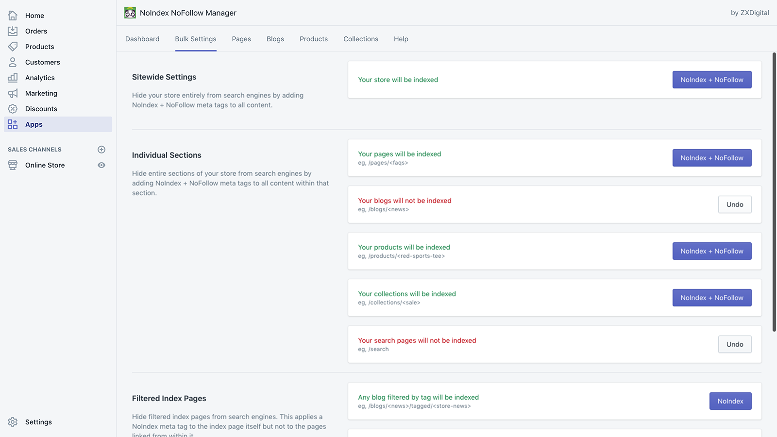 Easily configure noindex and nofollow meta tags sitewide
