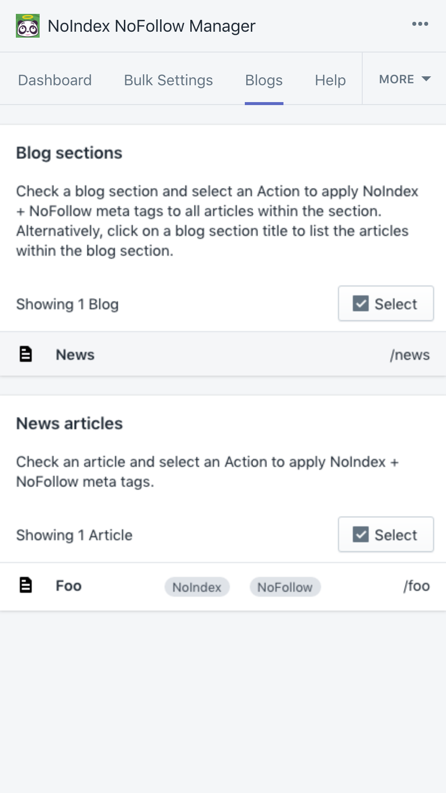 Control how blog sections & articles should be indexed/followed