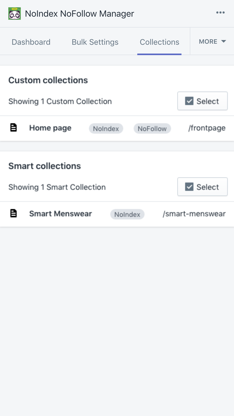 Specify how a collection's pages should be indexed/followed