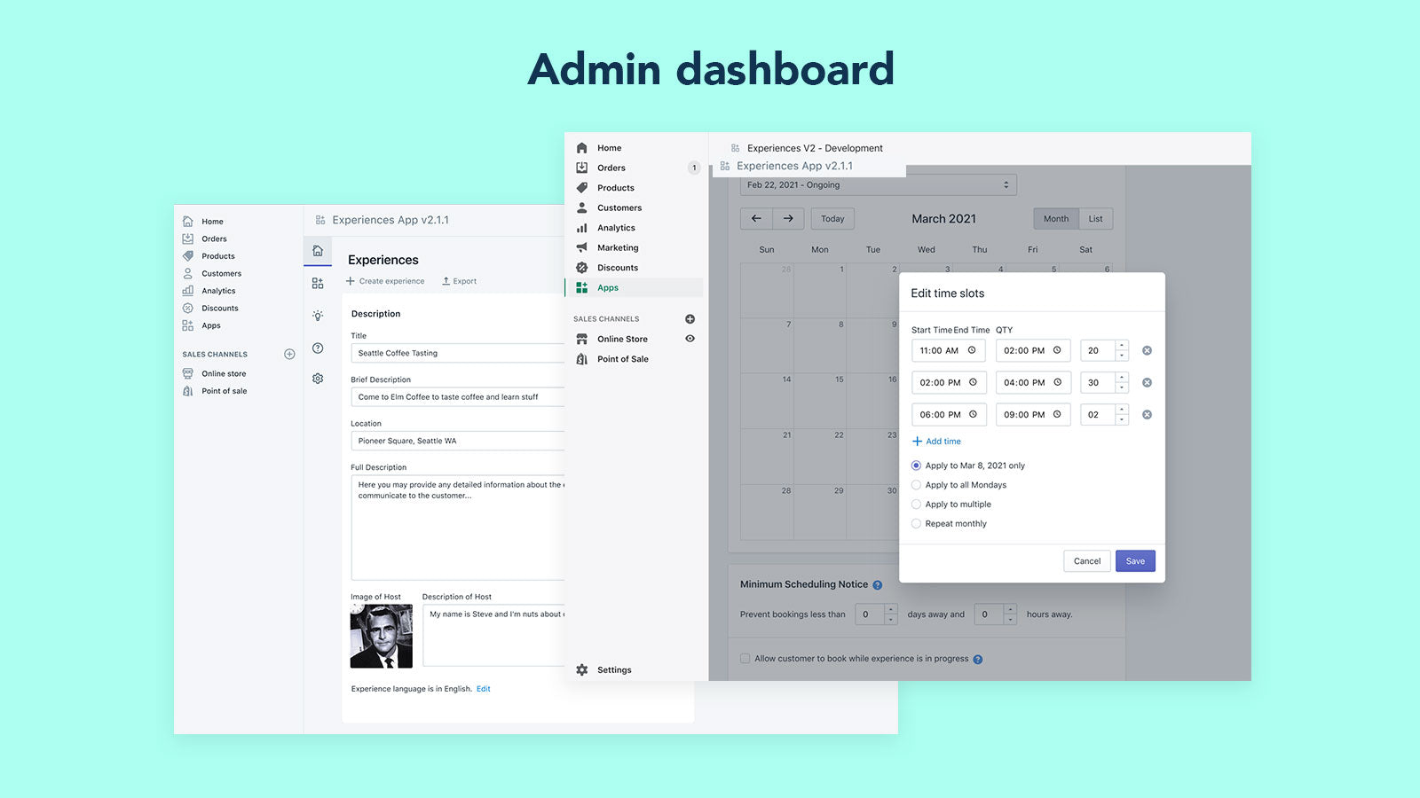 Admin View - Create Experience
