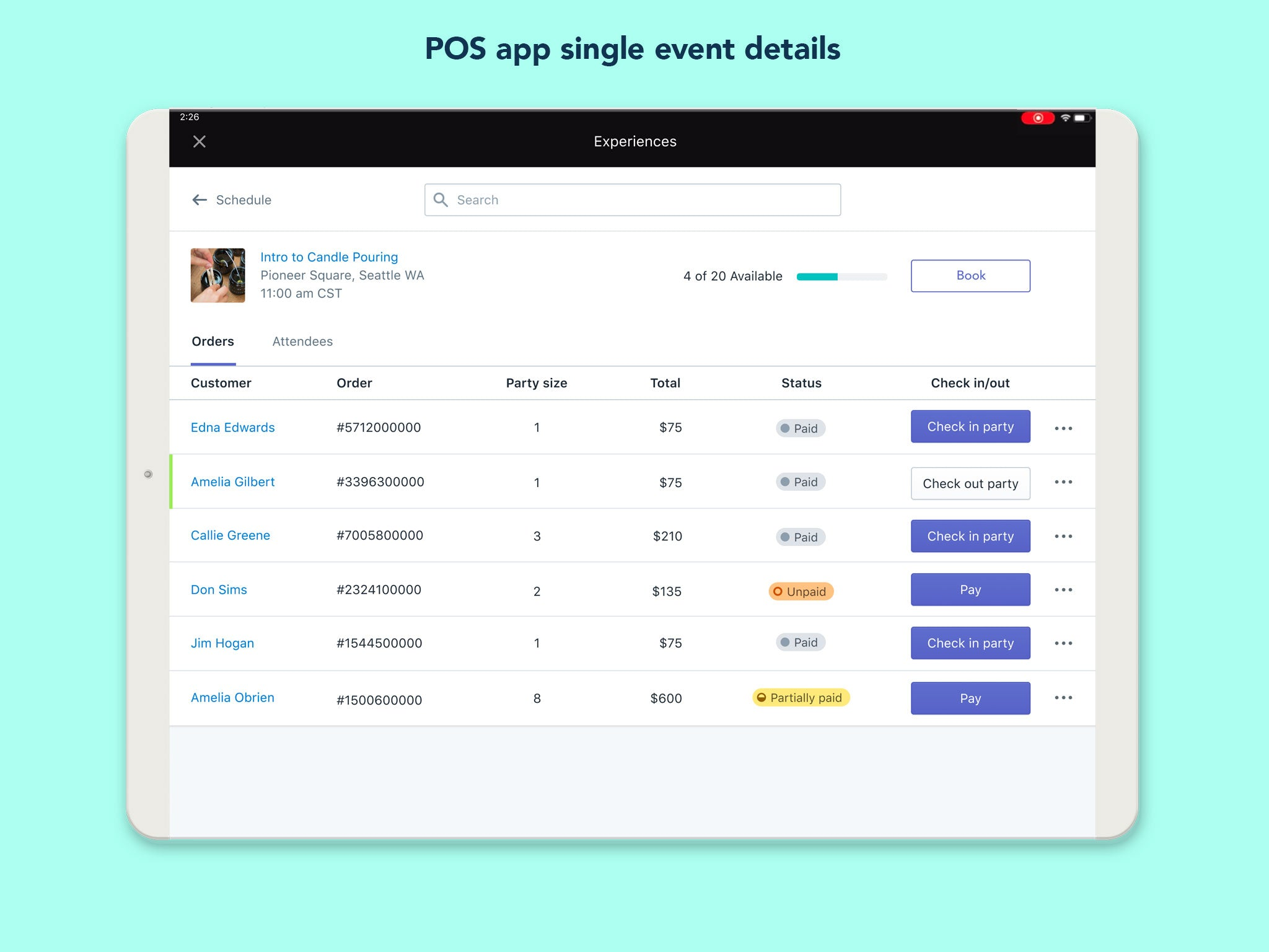Shopify POS - View Attendee List