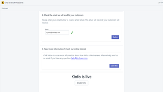 Kinfo app on Shopify for your shop (on Enabled state)
