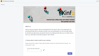 Kinfo app on Shopify for your shop (top of page)