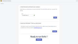 Kinfo app on Shopify for your shop (on Disabled state)