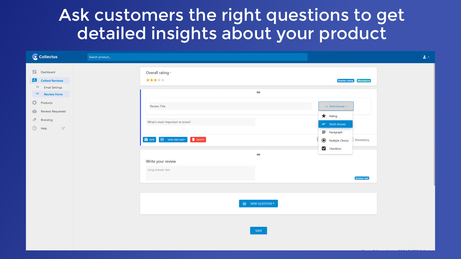 Customize your review form