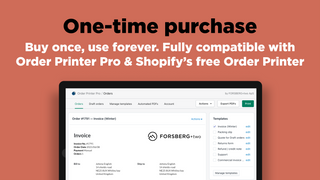 Shopify order printer: Templates are a one-time purchase