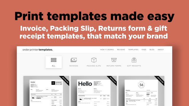 Shopify order printer template: Invoice, packing slips and more