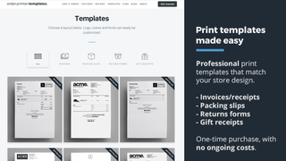 Shopify order printer template designs