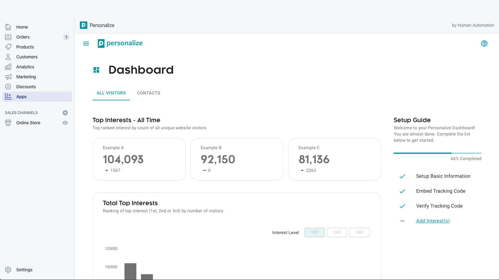 See and manage interests from within Shopify