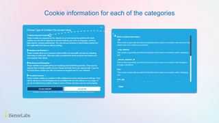 Description for each cookie in the Preferences Popup