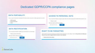 Dedicated GDPR/CCPA requests page